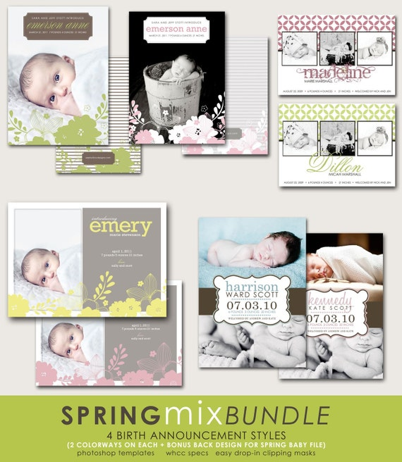 custom photoshop birth announcement templates for photographers - spring mix.