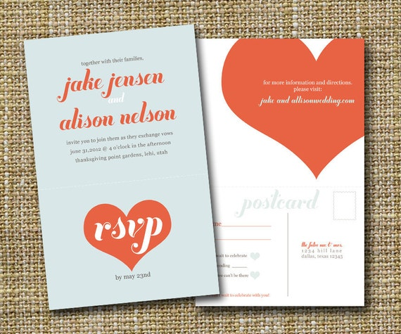 Wedding Invitation Reply Card: Modern Wedding Invitation With Perforated Rsvp Postcard Big