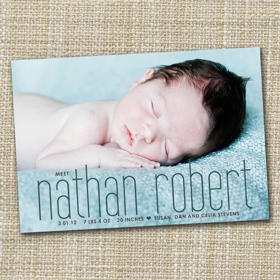 birth announcement, Baby boy announcement, Baby girl announcement, Double sided, newborn printable digital Simple modern birth announcement