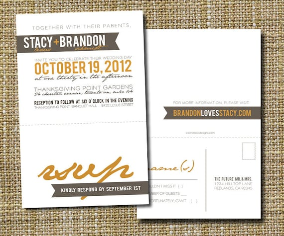 modern wedding invitation with perforated rsvp postcard - simple.