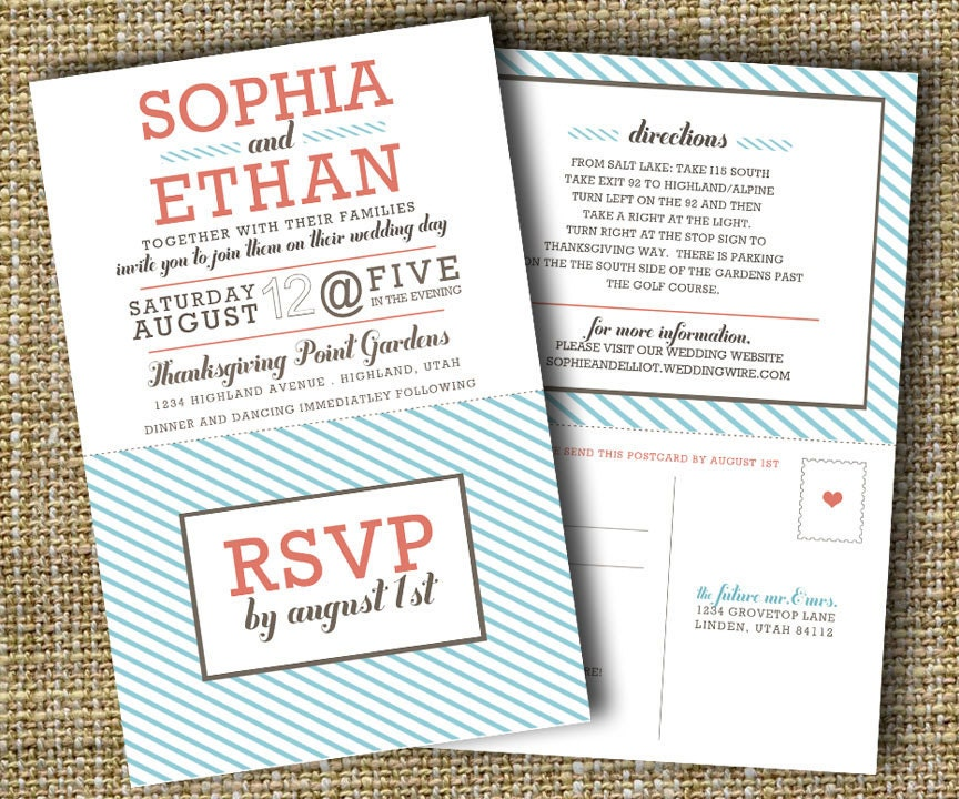 Modern Wedding Invitation With Perforated Rsvp Card Lovely
