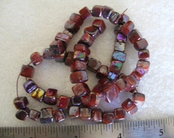 AB Berry Colored Cube Beads