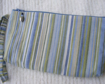 Denim Blue and Green Stripe Wristlet with Charm Pull