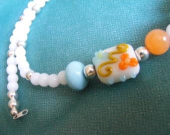 Tangerine Orange and Blue White Necklace