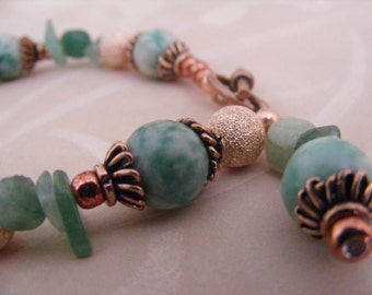 Copper Amazonite and Aventurine Bracelet
