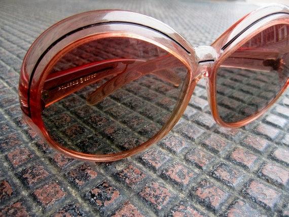 vintage 1960s 1970s round PINK cool ray POLAROID sunglasses BUG eye super chic boho bohemian