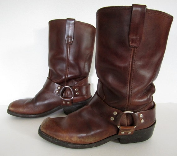 vintage 1980s 1990s brown leather HARNESS boots mens 8 1/2 womens 10 10 1/2 11 BIKER buckle strap western DURANGO motorcycle engineer
