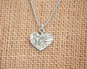 Hand Crafted Sterling Silver Heart Charm Necklace Valentines Day Sweetheart Necklace