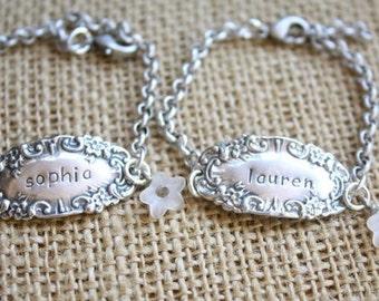 Hand Stamped Stelring Silver Antique Inspired Bracelet