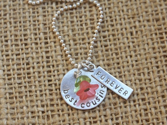 Hand Stamped Sterling Silver Best Cousins Forever Necklace