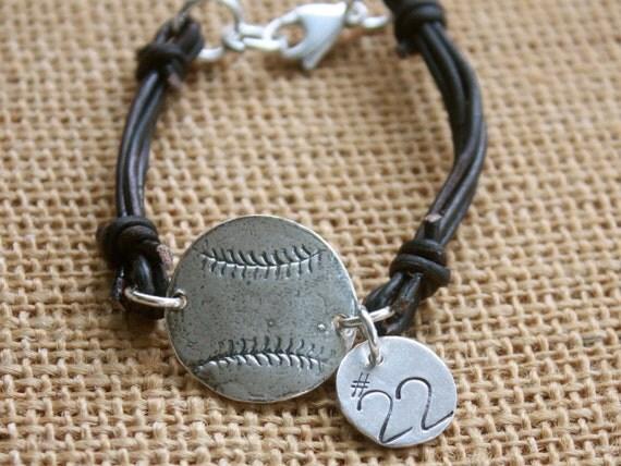 Sterling Silver Baseball Leather & Number Bracelet
