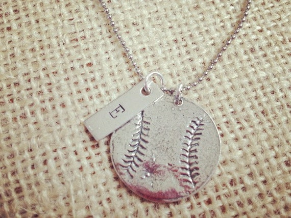 Sterling Silver Baseball Softball Necklace Personalized Hand Stamped Too
