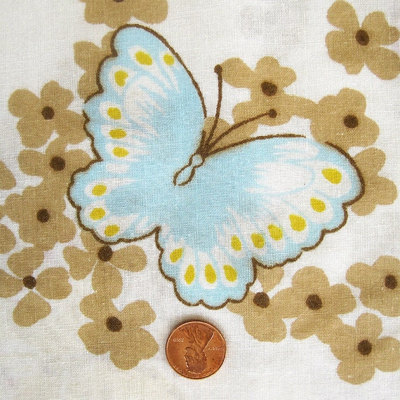 Vintage Flat Bedsheet Butterfly Twin - Light Blue, Yellow, Tan, Brown, Rust - Tastemaker