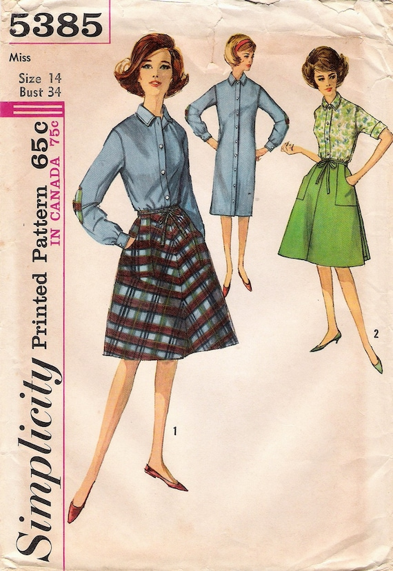 Vintage 1964 UNCUT Simplicity Pattern 5385 - Misses One Piece Shirt Shift and Wrap Around Skirt - Size 14
