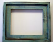 8x10 turquoise rustic stacked pine picture frame . handmade . eco. friendly finish