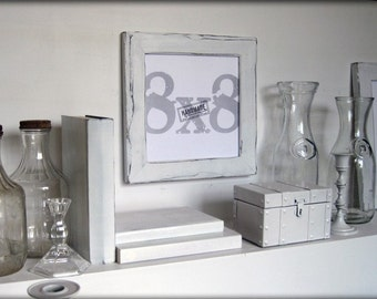 8x8 white picture frame . handmade picture frames . distressed white style