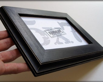 5x7 black traditional rustic hardwood picture frame . . . .handmade