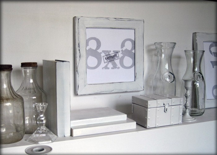8x8 white picture frame handmade picture frames distressed white style zoom