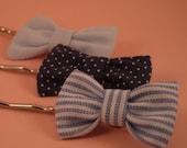 3 Cute Bow Hair Pins - Blues