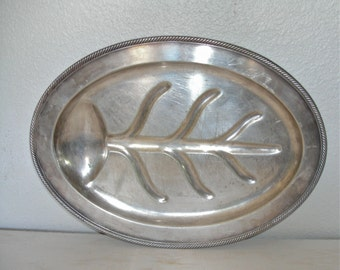 large footed silver meat tray with monogrammed S - ornate hollywood regency - poole silver epns - shabby cottage chic decor