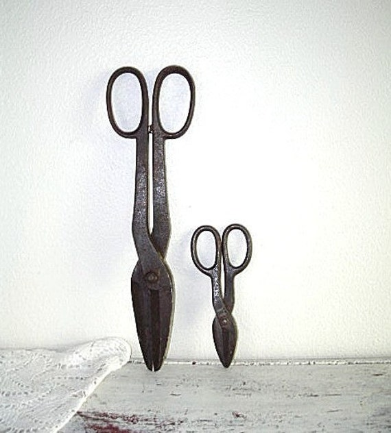 forged steel farm scissors - worth rustic rusty snips - farmhouse country - urban industrial decor - shabby chic cottage