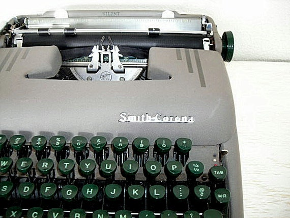 manual smith corona silent typewriter - industrial mid century vintage decor - mad men style