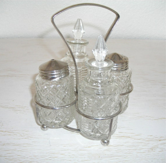 Silver And Glass Cruet Set Salt And Pepper Shakers Shabby