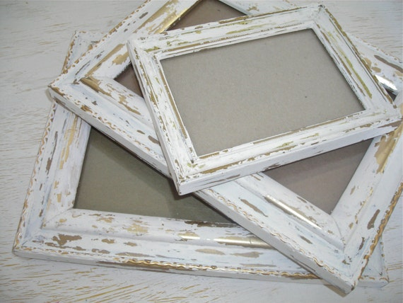 creamy white and gold distressed picture frames - shabby chic cottage wedding decor - ornate hollywood regency - instant photo gallery