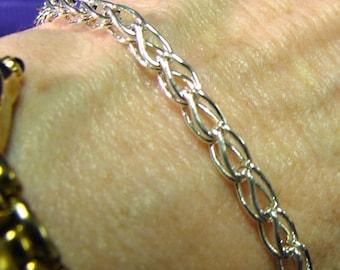 Handmade Fine Silver Loop in Loop Bracelet 8 Inches in Length