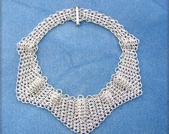 Argentium Silver European 4 in 1 OOAK Statement Neck Collar 15 1/4 Inches in Length