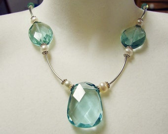 Sterling Silver and Aqua Faceted Glass Drops With Freshwater Pearls Necklace