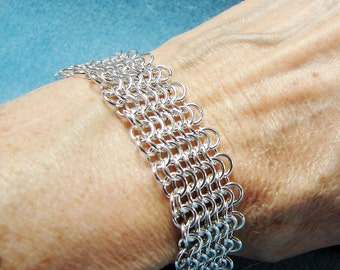 Sterling Silver European 4 in 1 Wide Chainmaille Bracelet 7 1/2 Inches in Length
