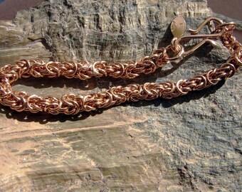 Handmade Bronze Byzantine Link Weave Bracelet 7 1/4 Inches in Length