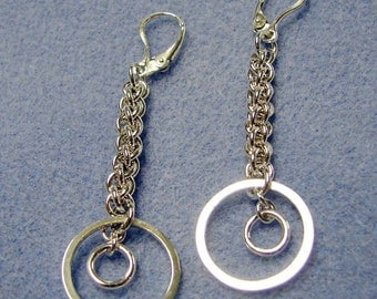 Sterling Silver Chainmaille Jens Pind Dangle Earrings