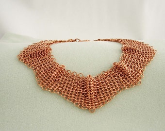 Handmade Chainmaille Pure Copper Euro 4 in 1 Neck Collar 15 Inches in Length