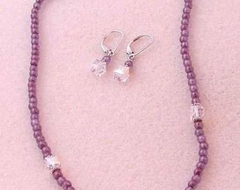 Handmade Purple Choker Necklace and Dangle Earring Set On Sale