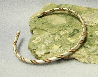 Handmade Sterling and Copper Bangle Bracelet