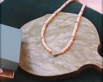Handmade Peach Freshwater Pearl Choker On Sale