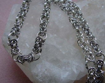 Sterling Silver Byzantine Chainmaille Necklace 18 1/2 inches in Length