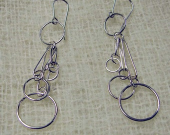 Sterling Silver Circles Link Dangle Earrings