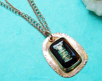 Handmade Pure Copper and  Dichroic Glass Pendant with Double Copper Chain 23 Inches in Length