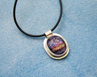 Handmade Sterling Silver and Dichroic Glass Cabochon on an 18 Inch Rubber Cord with Sterling Ends