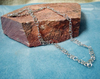 "Sterling Silver 19 inch Vintage-Style ""Trapped"" Link Handmade Chain Necklace"