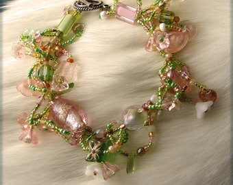 Romantic Fringed Beaded Bracelet 7.5 Inches in Length in Greens, Pinks, Yellows and White