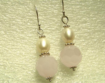Freshwater Pearl and Faceted Pink Milk Glass Sterling Silver Earrings