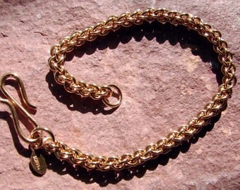 Solid Bronze Jens Pind Chainmaille Bracelet 8 Inches in Length