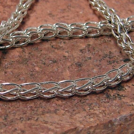 Handmade Fine Silver Single Loop in Loop Bracelet 7 1/2 Inches in Length