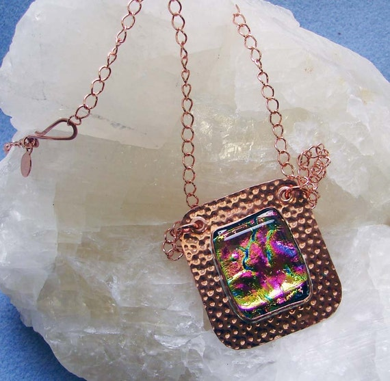 Handmade Pure Copper and  Dichroic Glass Pendant with Chain 26 Inches in Length
