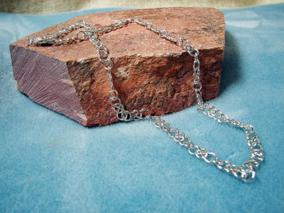"""Sterling Silver 19 inch Vintage-Style """"Trapped"""" Link Handmade Chain Necklace"""
