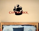 Captain (Child Name) with Pirate Ship OR Crossbones Vinyl Lettering